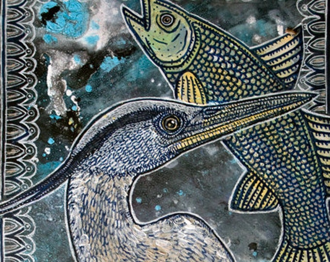 Original Great Blue Heron and Fish Painting by Lynnette Shelleyh