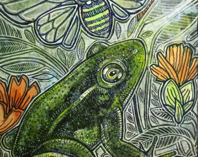 Original Frog / Cicada / Marsh Wren Painting by Lynnette Shelley