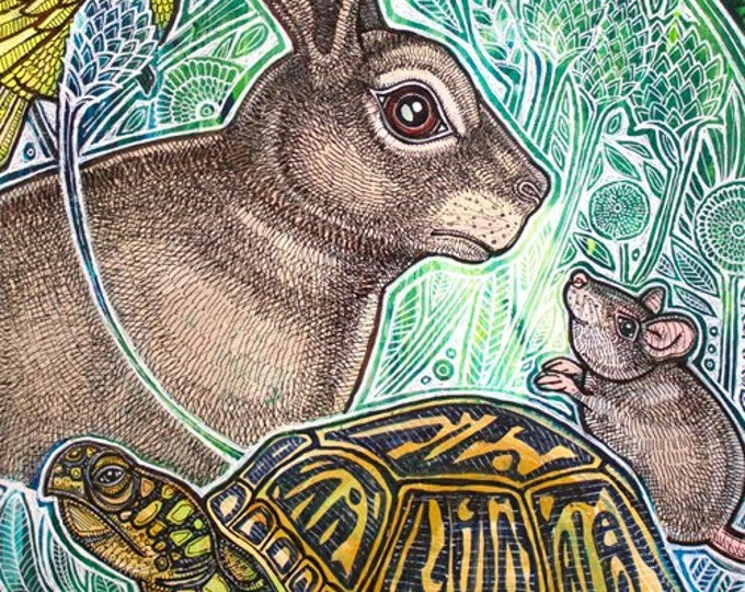 The Gathering Wildlife / Animal Art Print by Lynnette Shelley