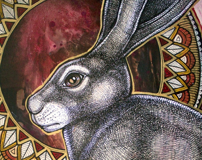 "Original ""Sacred Hare""  Rabbit Painting by Lynnette Shelley"