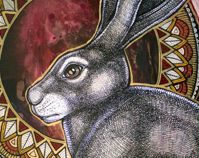 Sacred Hare Archival Art Print by Lynnette Shelley