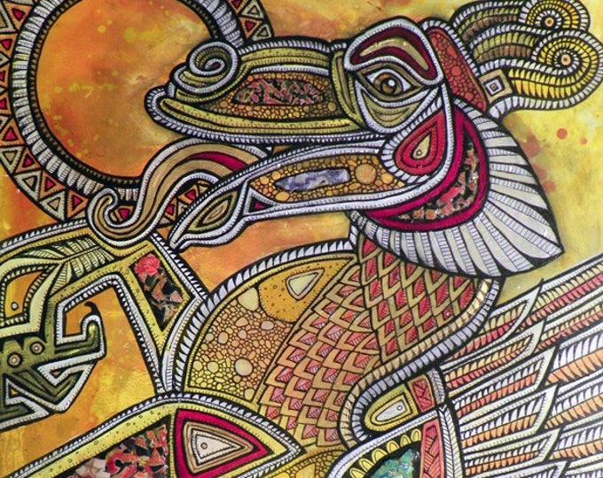 """Original """"The Sun Eater (Dragon Devouring the Sun)"""" Painting by Lynnette Shelley"""