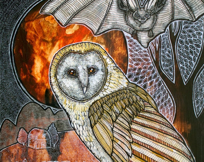 Owl and Bat Original Animal Artwork by Lynnette Shelley