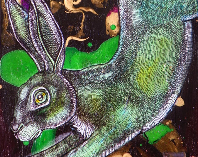 Original Running Rabbit Painting by Lynnette Shelley