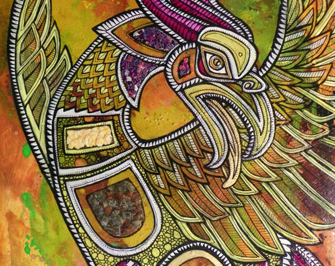 """Original """"Arise from Ashes"""" Phoenix / Firebird Painting by Lynnette Shelley"""