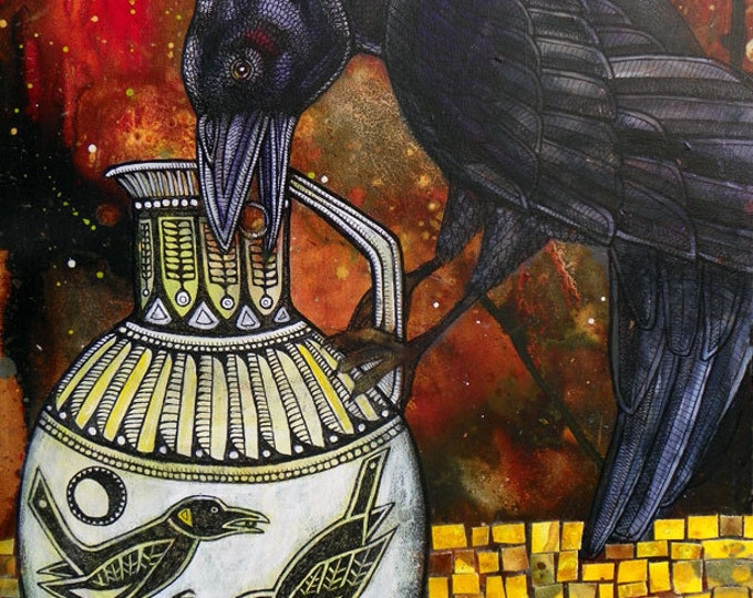 Crow and Pitcher Aesop Fable Art Print by Lynnette Shelley
