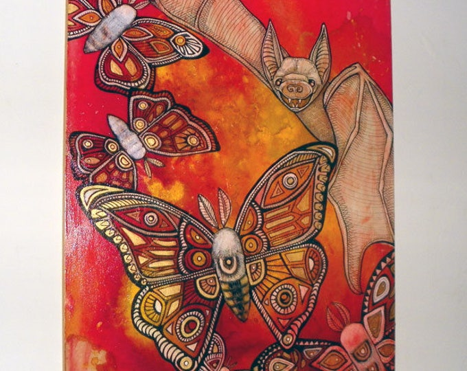 Original moth and bat painting by Lynnette Shelley