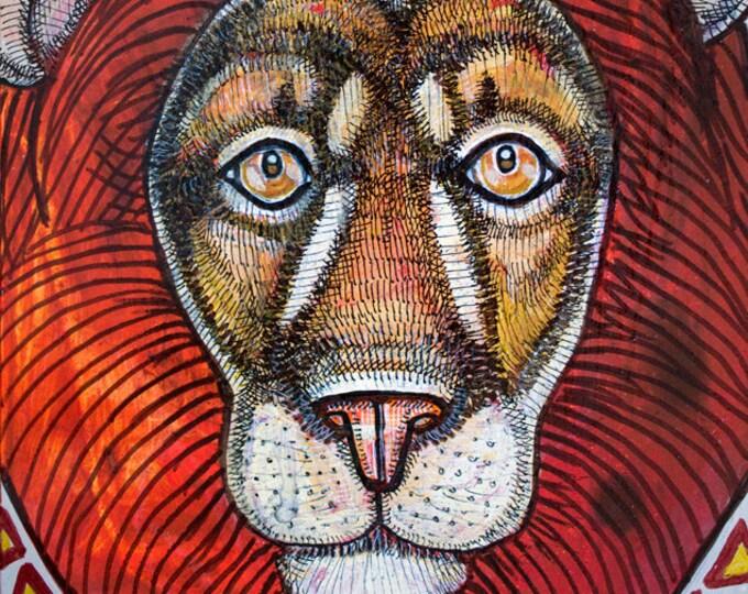 Original Leo Sun Lion Zodiac Art by Lynnette Shelley
