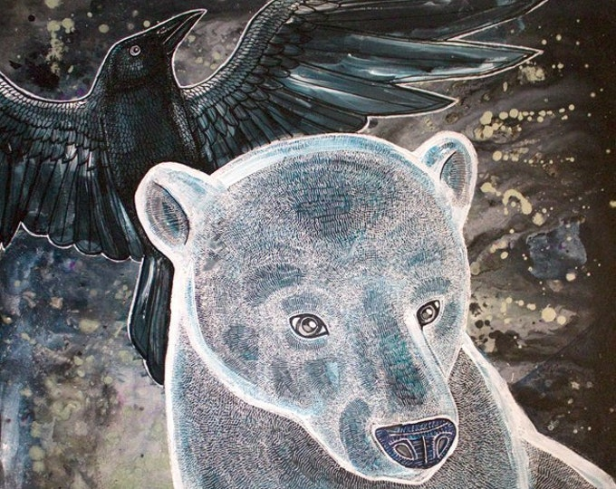 Polar Bear and Ravens Art Print by Lynnette Shelley