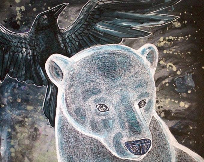 Polar Bear and Ravens Art Print by Lynnette Shelley