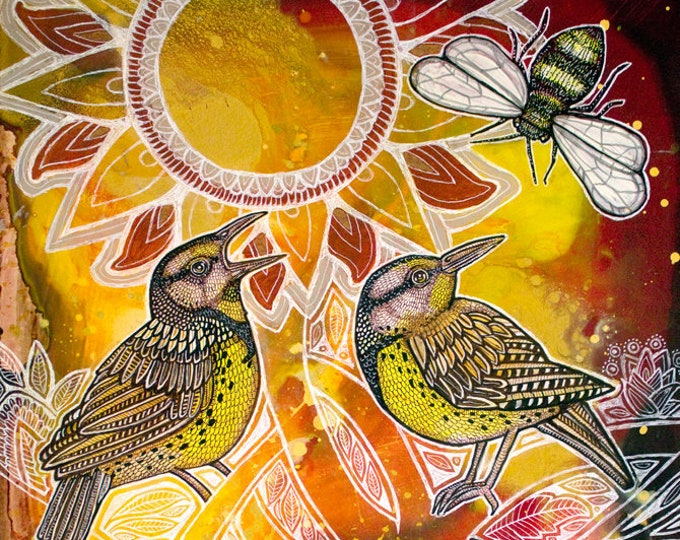 Meadowlarks in the Tree of Life Mystical Animal Artwork by Lynnette Shelley