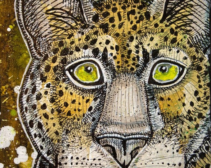 Leopard Big Cat Miniature Painting by Lynnette Shelley