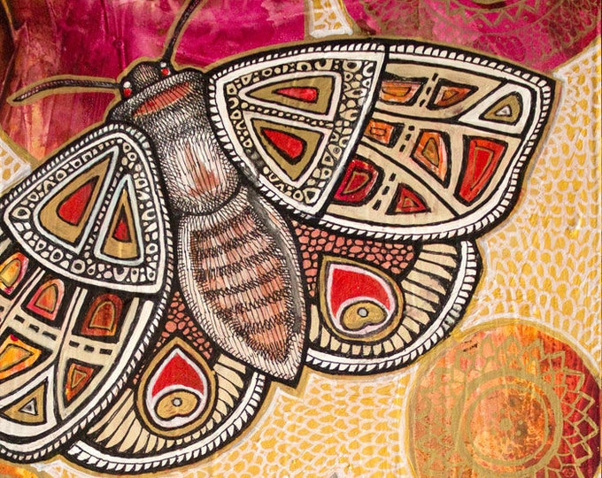 "Original ""Rise Above"" Moth / Butterfly Mandala Painting by Lynnette Shelley"