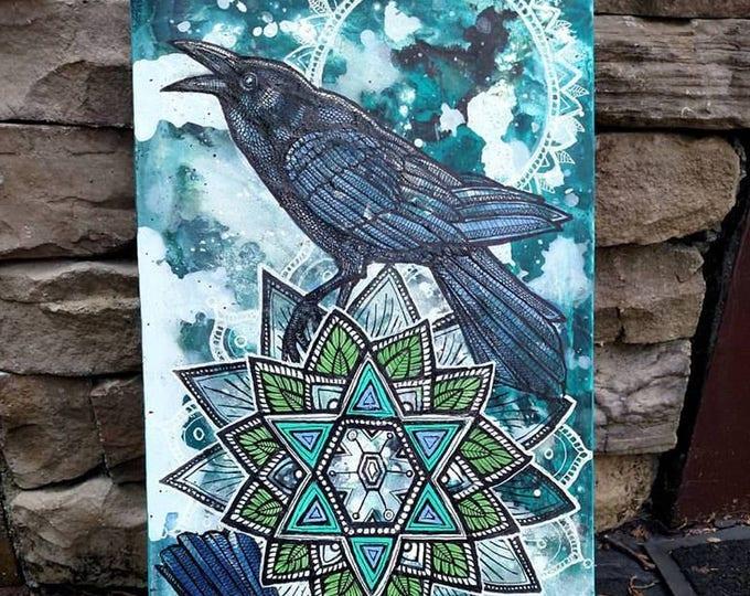"Original ""Snow Crows"" Corvid Winter Mandala Painting by Lynnette Shelley"