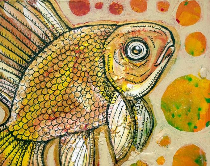 Original Goldfish Miniature Art by Lynnette Shelley
