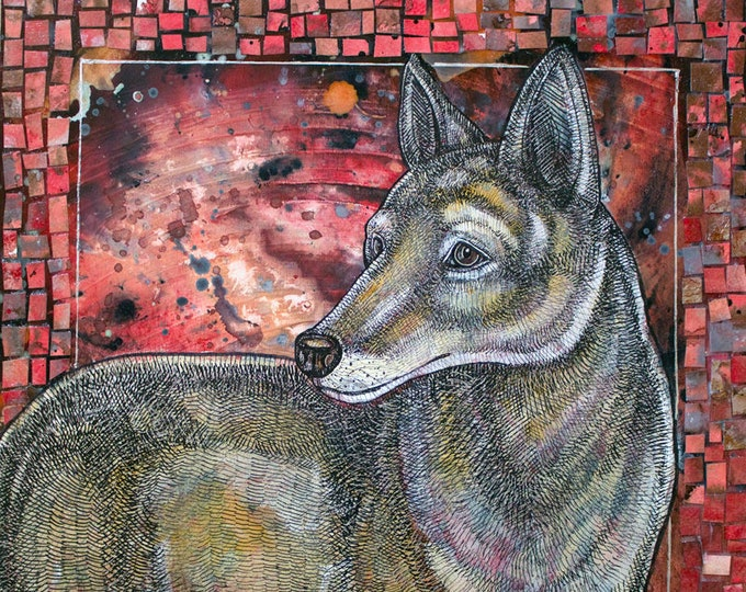 "Original Mosaic / Collage / Mixed Media ""Coyote Sunset"" Artwork by Lynnette Shelley"