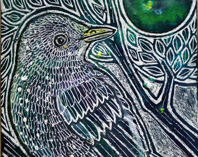 Original Moon Starling Bird Miniature Art by Lynnette Shelley