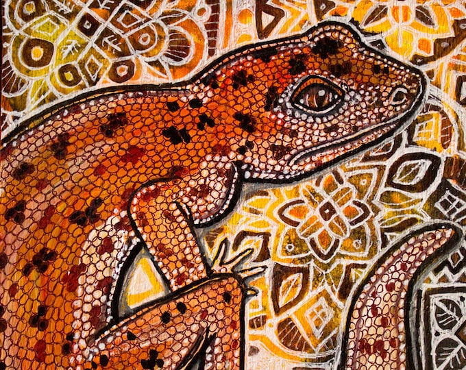 Original Gecko Lizard Ornamental Miniature Art by Lynnette Shelley