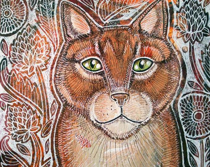 Red Tabby Cat Miniature Painting by Lynnette Shelley