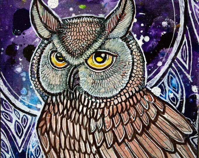 Original Night Owl Miniature Art by Lynnette Shelley