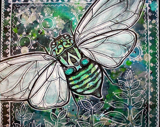 Cicada Summer Insect Animal Art Print by Lynnette Shelley