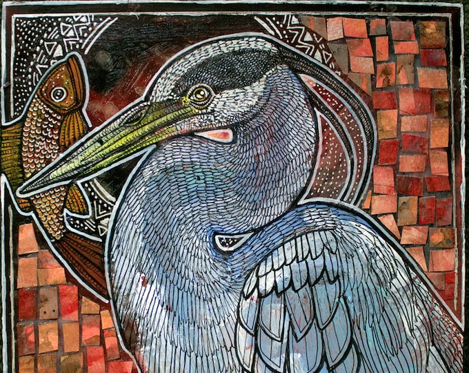 Great Blue Heron and Fish Animal Art Print by Lynnette Shelley