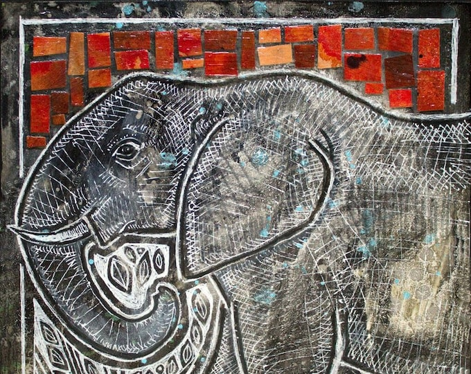 Original Elephant Miniature Painting by Lynnette Shelley