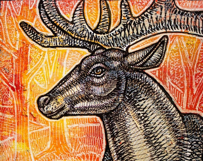 Original Stag at Sunset Miniature Art by Lynnette Shelley
