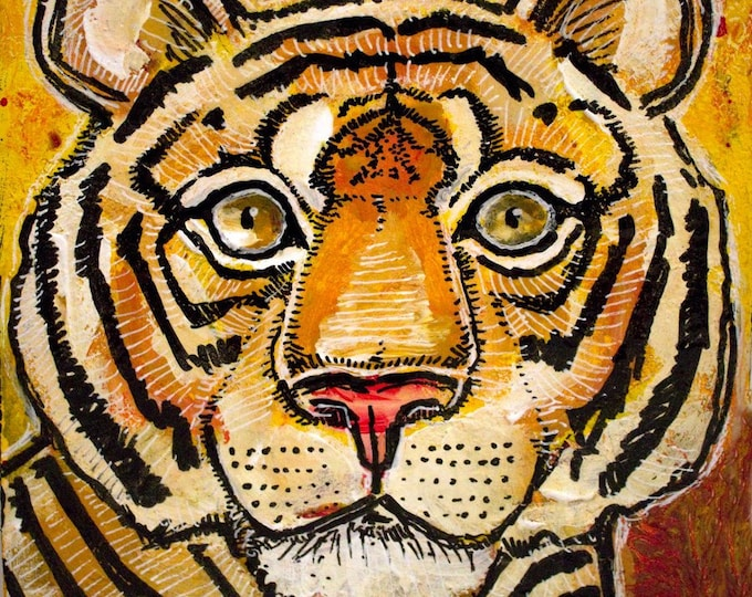 Original Tiger / Big Cat Miniature Art by Lynnette Shelley