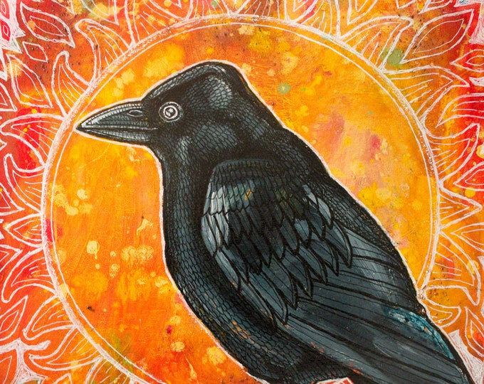 Original Sun Crow Painting by Lynnette Shelley