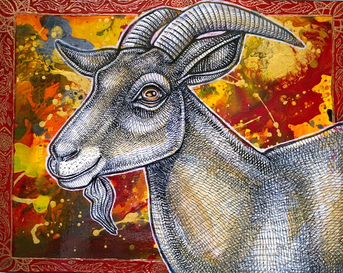 "Original ""The Happy Goat"" Animal Art / Painting by Lynnette Shelley"