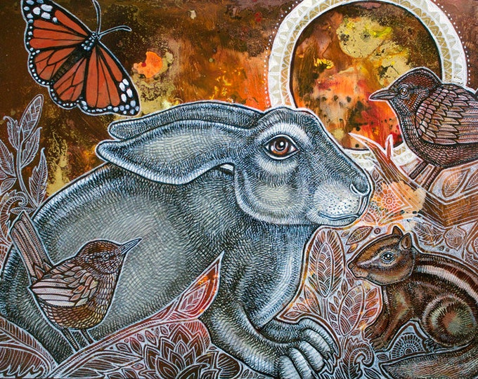Mystical Animal Art Original Painting by Lynnette Shelley