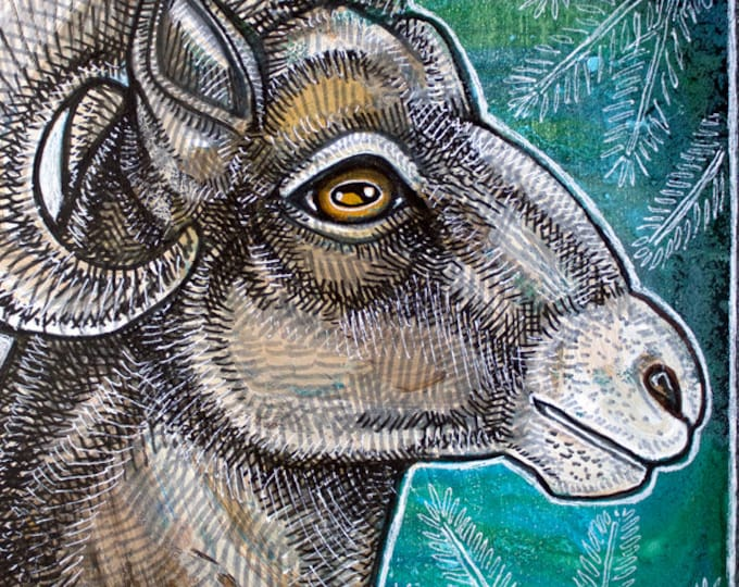 Original Big Horn Ram / Sheep Painting by Lynnette Shelley