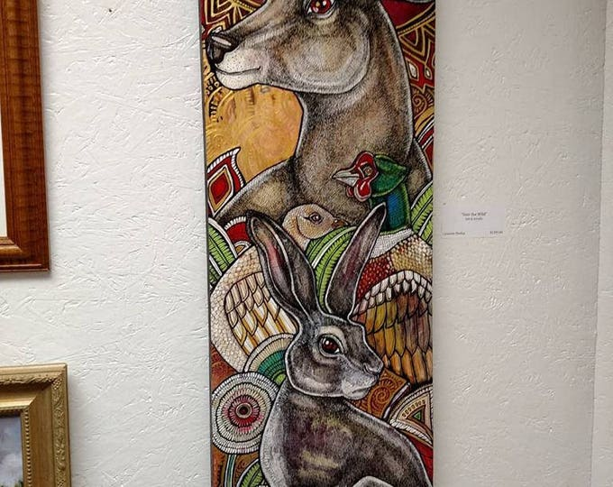 "Original ""Into the Wild"" Animal / Wildlife Art Nouveau Style Painting by Lynnette Shelley"
