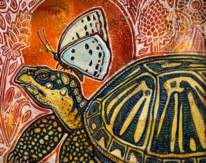 Original Box Turtle and Butterfly Wildlife Painting by Lynnette Shelley