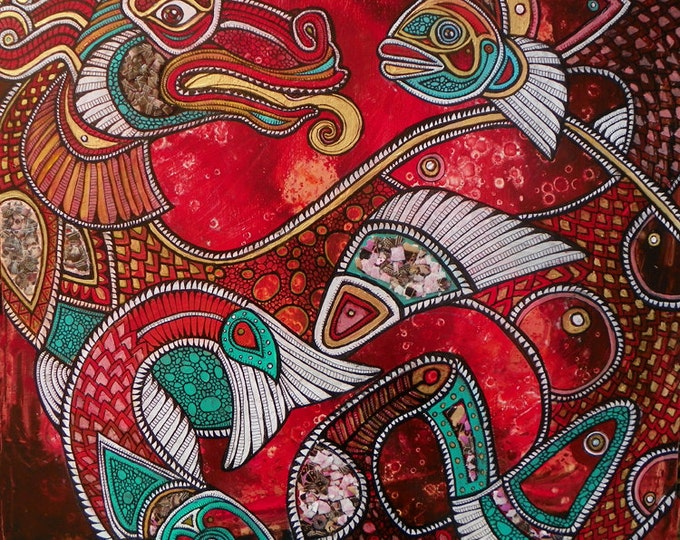 Original Dragon and Koi Fantasy Art Painting by Lynnette Shelley