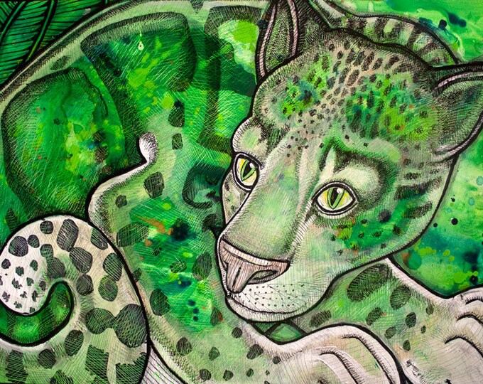 Original Clouded Leopard / Big Cat Painting by Lynnette Shelley