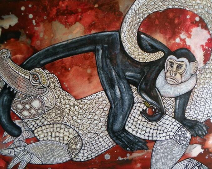 "Original ""Monkey's Tale"" painting by Lynnette Shelley"