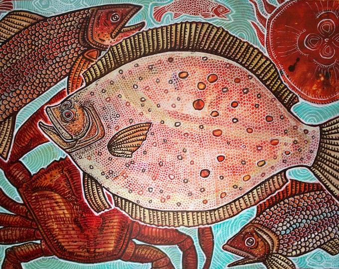 "Original ""Fish of the Day"" Marine Art Painting by Lynnette Shelley"