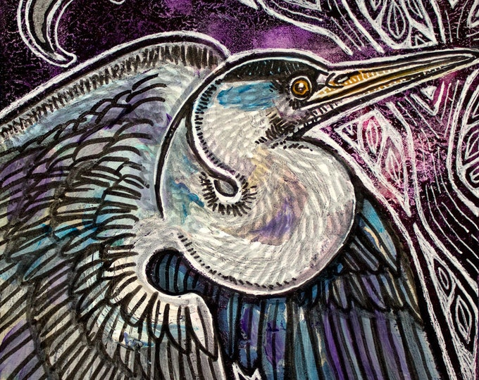 Original Great Blue Heron Miniature Art by Lynnette Shelley