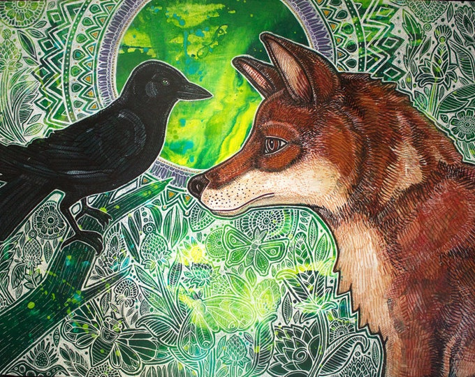 Fox and Crow Animal Art Print by Lynnette Shelley