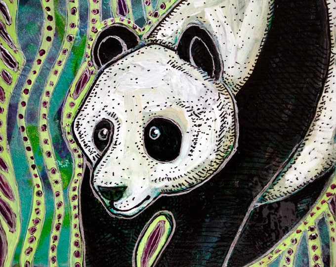 Original Panda Miniature Painting by Lynnette Shelley