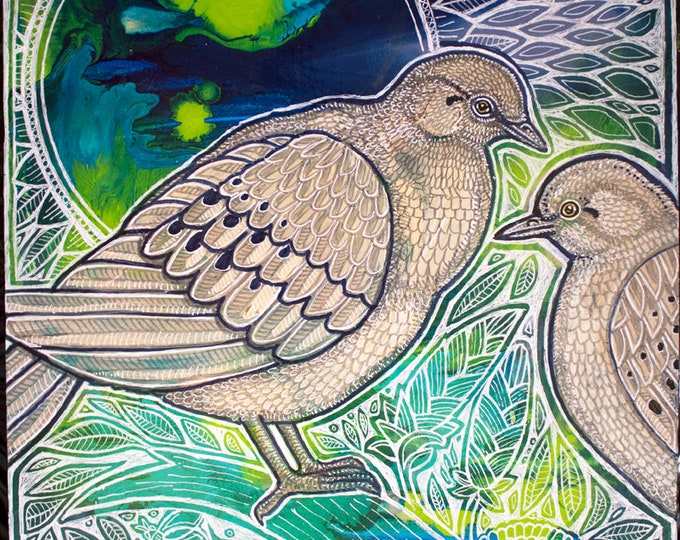 Mourning Doves Bird Art Painting by Artist Lynnette Shelley