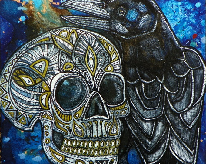 Raven / Crow / Skull / Halloween Art Painting by Artist Lynnette Shelley