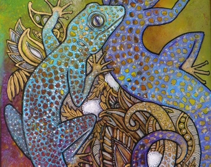 Blue Geckos Animal Art Print by Lynnette Shelley