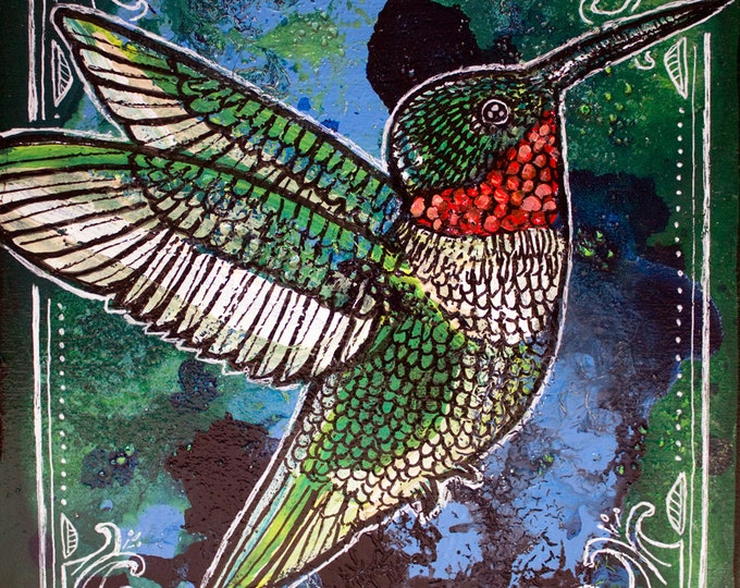 Original Ruby-Throated Hummingbird Miniature Painting by Lynnette Shelley