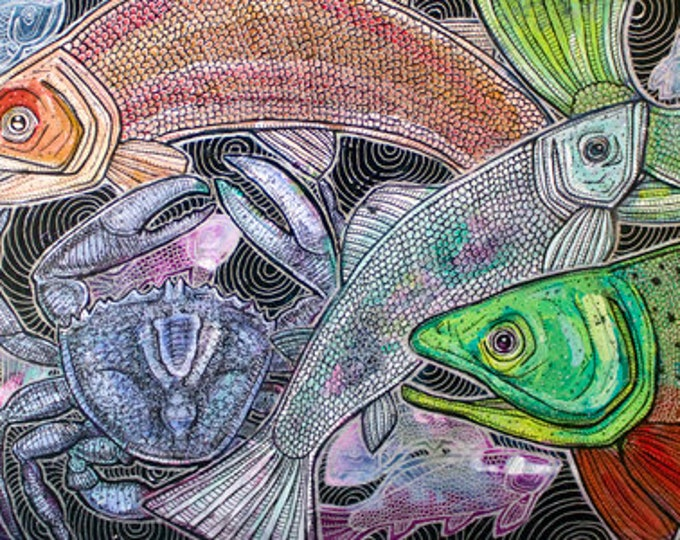 """Original """"Aquatica"""" Fish and Blue Crab Painting by Lynnette Shelley"""