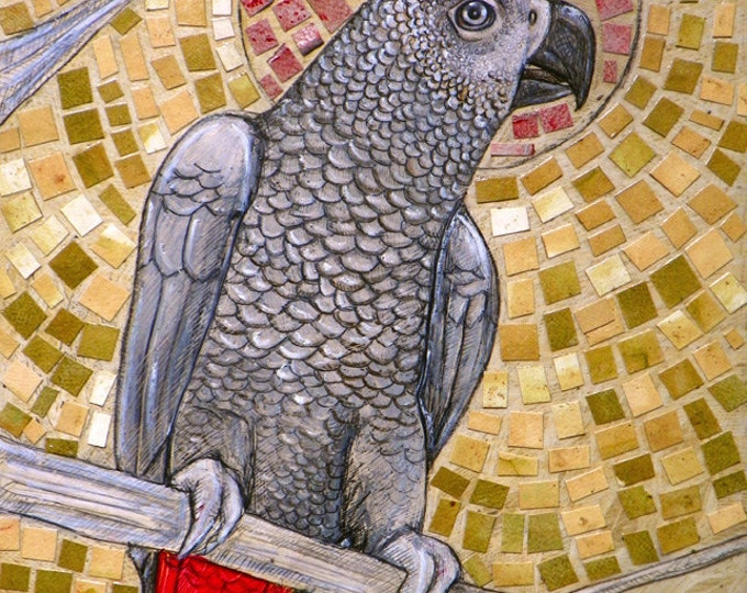 African Grey Parrot Bird Archival Art Print by Lynnette Shelley