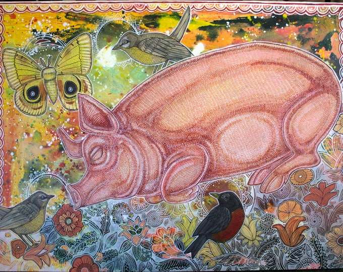 Dreaming Pig Animal Art Print by Lynnette Shelley