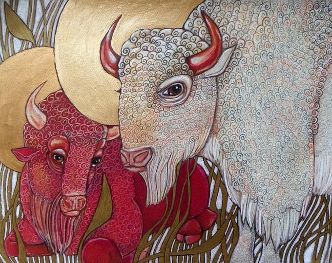 White Buffalo / Red Buffalo / Bison Animal Art Nouveau Artwork by Lynnette Shelley